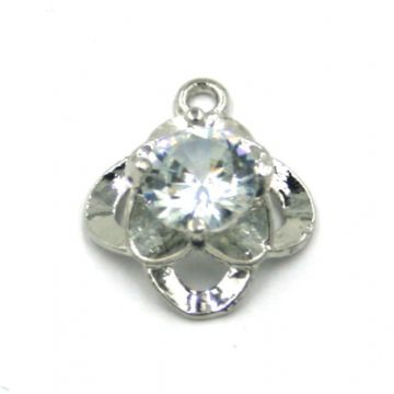 13mm x 21mm Quadro shape charm with crystal centre